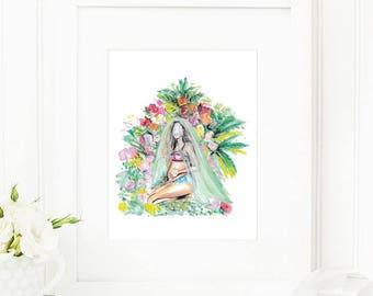 QueenB • Art Print   Fashion Illustration