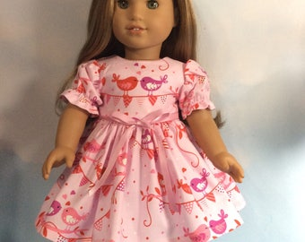 """Valentine love birds dress fits 18"""" American girl dolls and dolls similar to size"""