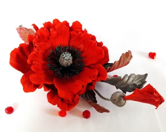 Brooch red poppy  Leather red poppy  Poppy flower   Red brooch pin  Red flower brooch  Leather  jewelry  Leather gift for her Poppy corsage