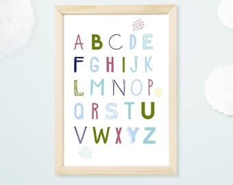 SALE kids poster, alphabet, letters, decor, illustration, nursery kids room, decor poster, typography, was