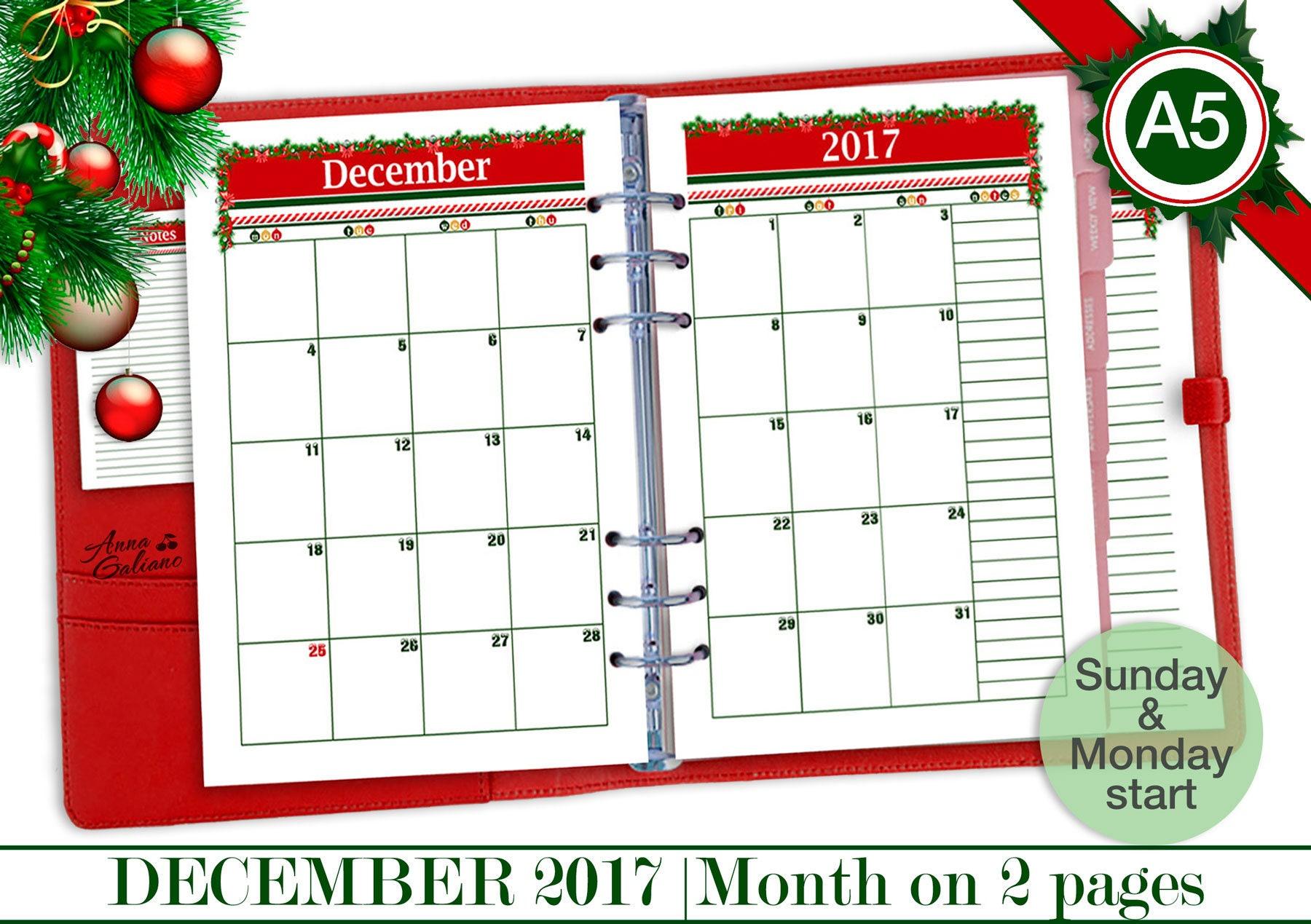 Christmas Calendar 2017 : A printable christmas calendar december