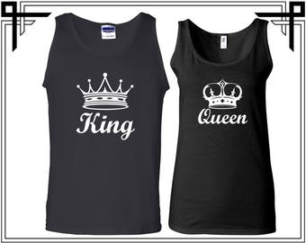 King Queen With Crown Couple Tank Top Party Tanks Couple Tops Love Top Anniversary Love Tank Top Gifts For Him And Her