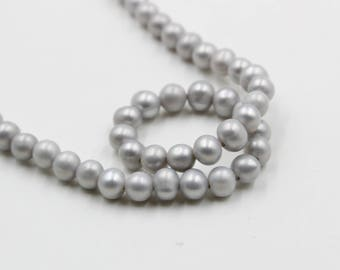 7 mm gray round freshwater pearls, gray round pearl,15'' full strand, round pearl strands, pearl wholesale, matte beads