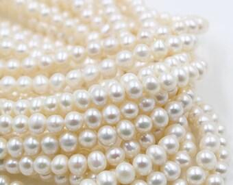7 - 8 mm white round freshwater pearls, white round pearl,15'' full strand, round pearl strands, pearl wholesale