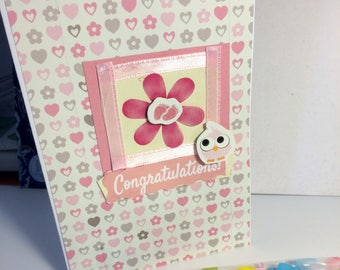 Pretty Pink Feet Handmade Card. Ideal for Newborn baby, original design.