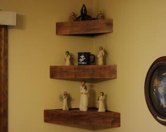 Set of three handmade decorator wood wall corner shelves with a plain face.