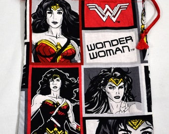 Wonder Woman - Drawstring Dice Bag or Gift Pouch, Fully Lined