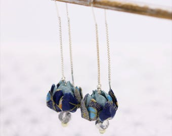 Blue lotus flower Origami earrings