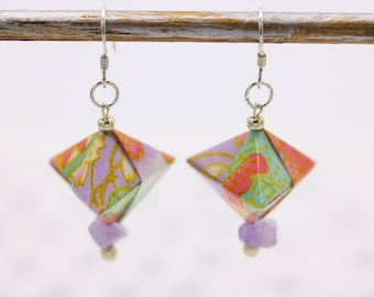 Japanese origami earrings silver purple and Amethyst