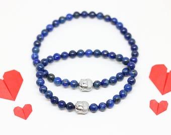 Pair couple bracelet lapis lazuli Buddha jewelry well be - Aiko Creation