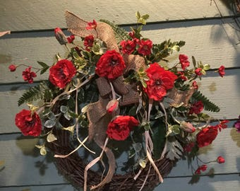 French Country Farmhouse/RED FLOWER WREATH