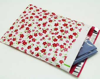 10 -  6x9 Pink Flowers Designer Poly Mailers Envelopes Boutique Custom Bags