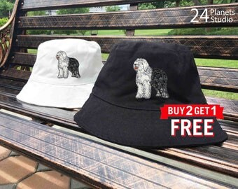 Old English Sheepdog Dog Embroidered Bucket Hat by 24PlanetsStudio