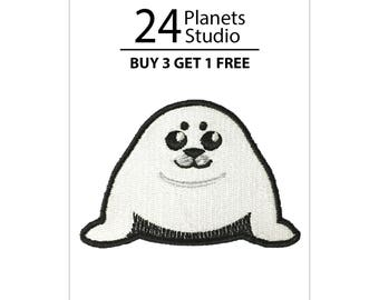 Harp Seal Pup Iron on Patch by 24PlanetsStudio