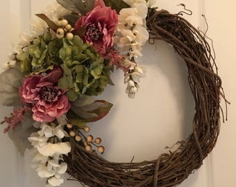 "18"" Grapevine Wreath - pink & green"