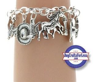 COWBOY Western Charm bracelet, CUTE - **FREE SHiPPiNG**
