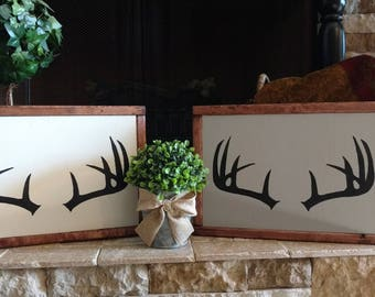 Hand Painted Antler Silhouette Stained Wood Framed Sign (sold separately)