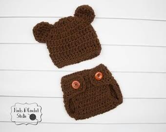 newborn crochet outfit, newborn bear outfit, newborn crochet bear hat, crochet diaper cover, newborn photo prop, newborn bear hat