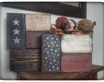 3 pc. Wooden Americana Flag Block Set-Americana Decor-Americana Block Set-Primitive Decor-Primitive Home Decor-USA Americana Decor-Americana