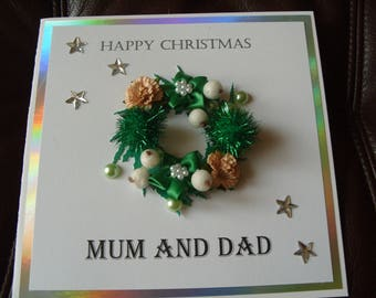 Wreath Christmas Card Personalised