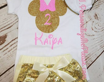 Minnie Mouse Birthday Outfit, Girls Birthday Outfit, Pink and Gold Birthday Outfit, Sequin Shorts Birthday Outfit