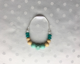 Silicone teething bracelet - bpa free beads - baby shower gift - silicone bead teether - chew toy