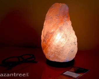 Himalayan Salt Lamp- 10- 15 lbs Natural Rock- with Flat Shipping and UL certified dimmer switch by Hazantree
