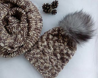 Knit hat Winter hat Pom pom hat Womens knit hat Winter beanie