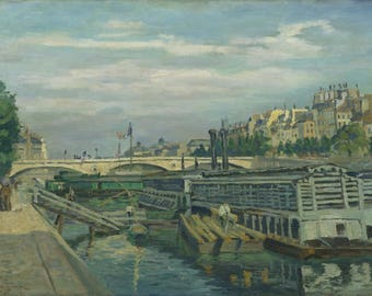 Armand Guillaumin : The Bridge of Louis Philippe (1875) Canvas Gallery Wrapped Wall Art Print