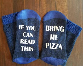 If You Can Read This Bring Me Pizza Socks, Womens socks, Thermal, Bottoms Up Socks, Blue Socks, Gift for Her, Pizza Lover