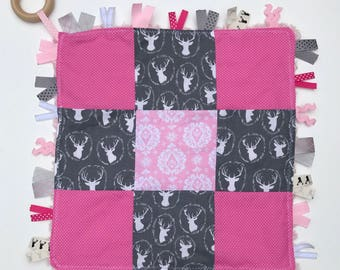 Security Quilt Blanket- Teether- Teething- Baby Shower Gift- Wooden Ring- Girly- Toddler Toy- Deer- New Present- Minky- Lovie -Lovey- Tagged