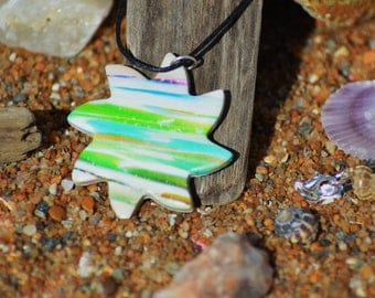 polymer clay necklace in white and green Sun shape