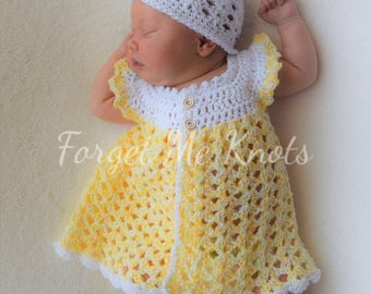 Newborn baby girl pinafore set / hat / booties/ mary janes /dress / 0-3 months
