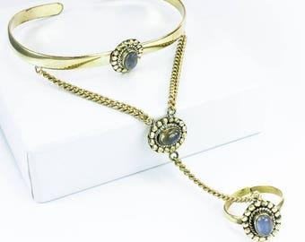 Brass bracelets slave Labradorite