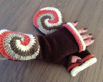 Handknitted fingerless gloves, mittens, crochet, winter accessories, wrist warmers