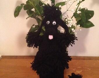 Black Crocheted Poodle Wine Bottle Holder