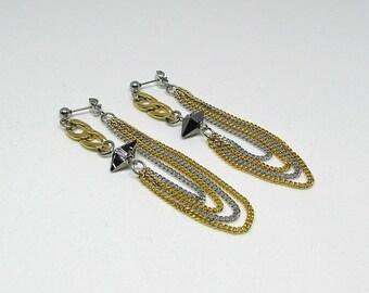 Long earrings - stainless steel - Swarovski Crystal