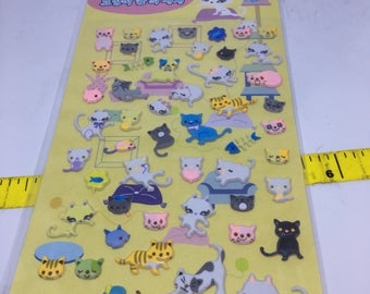 One sheet of puffy pretty Kitty stickers Made in Korea for scrapbooks, planners or journals Kawaii Japan Sticker