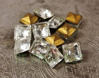TWELVE Clear Vintage 10mm Square Faceted Point Back Czech Glass Rhinestones