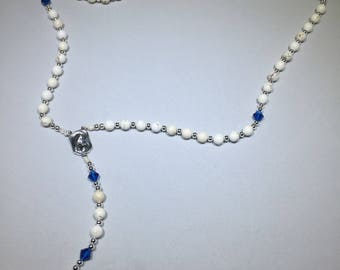 Magnesite Crystal and Sterling Silver Rosary