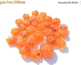 20% Off 15 Pcs Beautiful Natural Carnelian Carved Melon Beads Size 9 - 11 MM