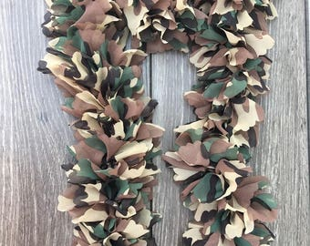 Handmade Camouflage Knitted Fabric Ruffle Scarf