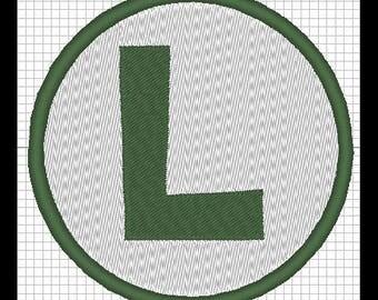 Luigi logo embroidery design