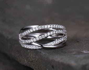 Criss Cross Ring X Infinity Split Shank CZ Wedding Band