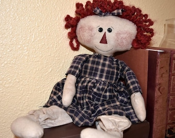 Raggedy Doll; Primitive Rag Doll; Hand-stitched Doll; Primitive Decor