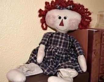 Raggedy Doll; Primitive Rag Doll; Hand-stitched Doll; Primitive Decor