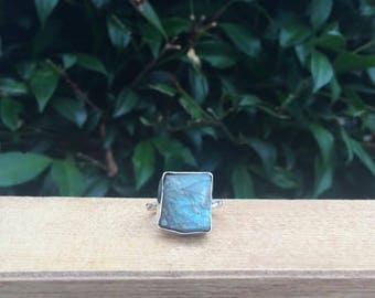 Rough Labradorite Ring / Sterling Silver Ring / Raw Labradorite Ring / Rough Crystal Ring / Rough Stone Ring / Raw Crystal Ring / Raw Stone