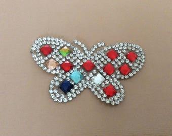 Rhinestone applique 6, 5 * 4 cm butterfly has stick to iron to iron