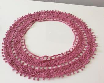 Lace applique pink circle width 8 cm