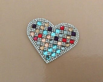 Heart Rhinestone 8 * 6 cm Butterfly Appliques stick to iron to iron